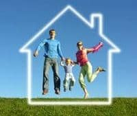 Financial and Home Loan Brokers in Sydney - young couple with child jumping for joy inside the silhouette of a house