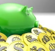 Green piggy bank with $ plastic chips