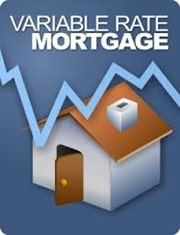 variable rate mortgage graph line over house