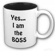 Yes I am the boss printed on coffee cup