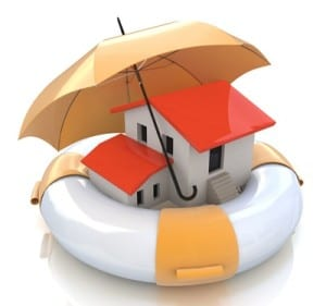 House in life raft with umbrella over it