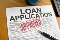 Loan application form stamped approved