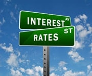 Street signs named inerest ave and rates st