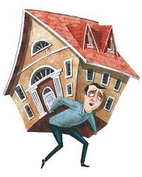 Man carrying house on his back