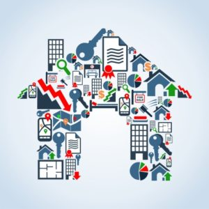 Real estate icon set in house silhouette background illustration file layered for easy manipulation and custom coloring