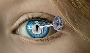 ladies eye with a keyhole and key superimposed on it