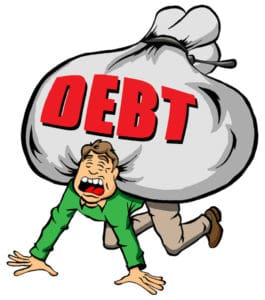 cartoon image of someone being weighed down by too much debt