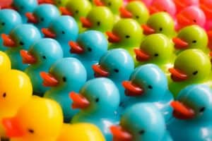 https://www.mastermortgagebrokersydney.com.au - plastic coloured ducks lined up in rows - representing ducks in a row