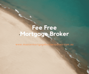 Fee Free mortgage broker message over the top of a secluded beach scene