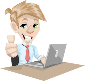 Caricature of a male business man sitting in front of his lap top giving the thumbs up sign