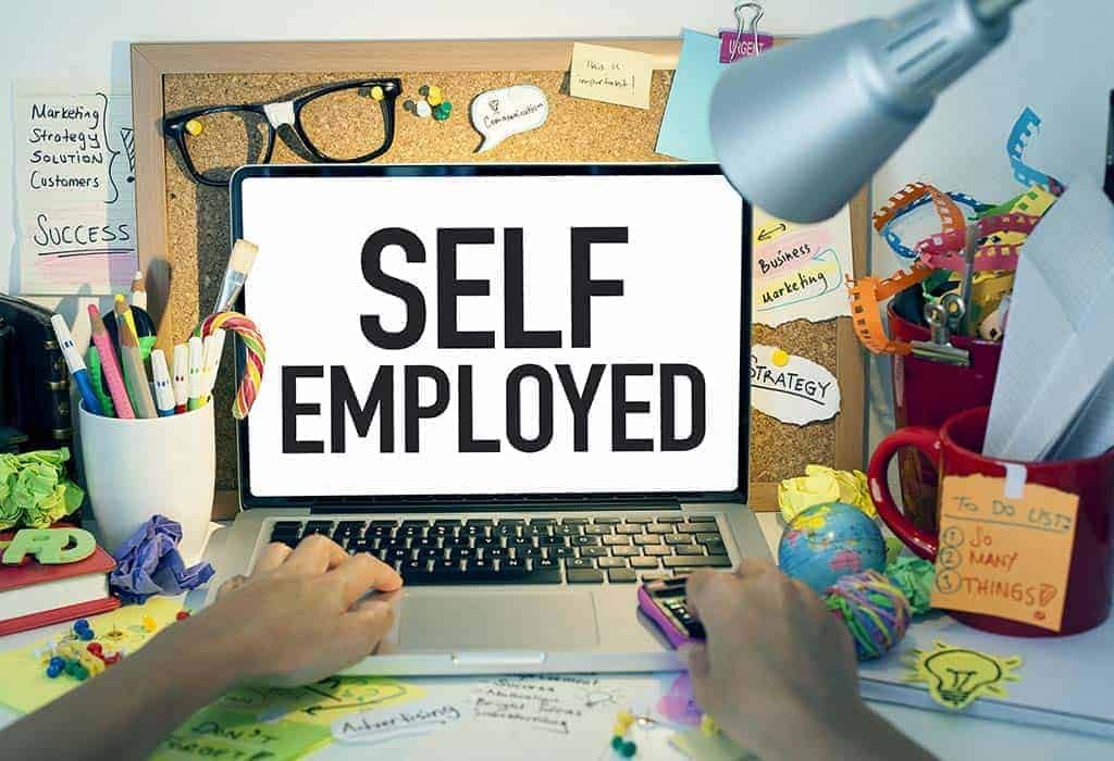 3-D image of a person looking at a computer screen that has the word self employed on it in large letters